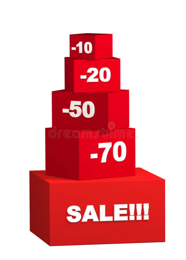 Sale - Boxes With The Goods For Reduced Prices Royalty Free Stock Image