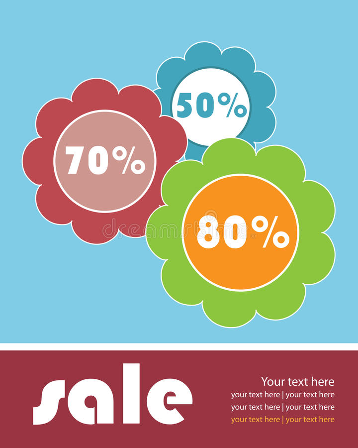 Sale brochure template. Illustration of a colored sale brochure template with flowers.EPS file available royalty free illustration