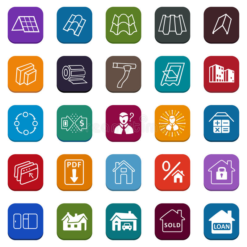 Sale buildings materials (roof, facade) site icons set vector illustration