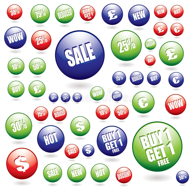 Sale buttons collection royalty free illustration
