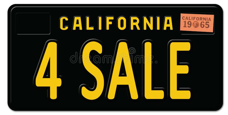 For Sale California License Plate Retro Vintage. 4 art logo sign metal car freeway royalty free illustration