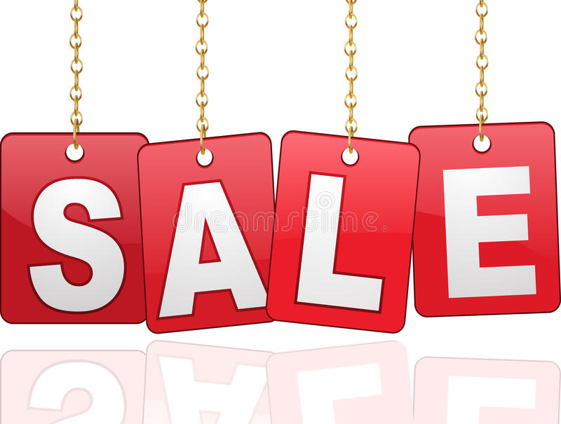 Sale cards hanging from chains stock illustration