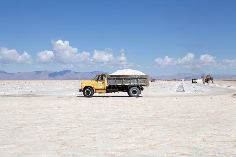 Sale caricato alle saline Grandes dentro a nord-ovest dell'Argentina nelle province del Salta e di Jujuy fotografia stock libera da diritti