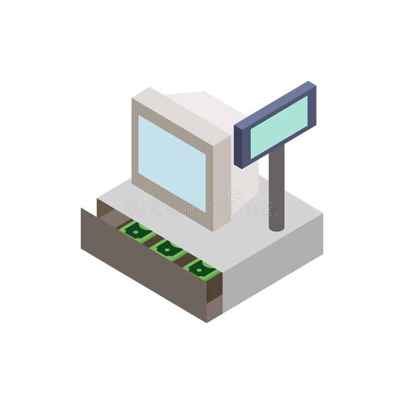 Sale cash register with cash drawer icon. In isometric 3d style on a white background stock illustration