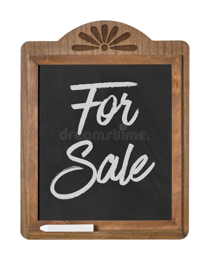 For Sale. A chalkboard sign on a white background - For Sale stock photography