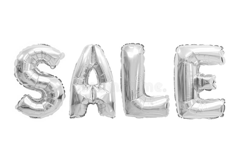 Sale chrome color. Word sale in english alphabet from chrome balloons on a white background. holidays and education royalty free stock photos