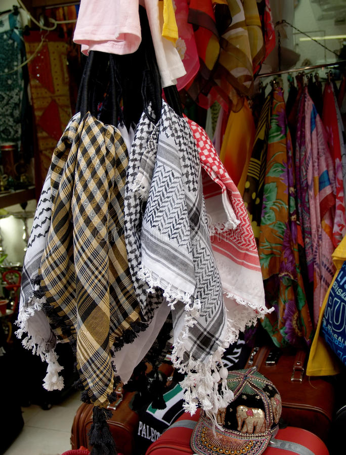 Sale of clothes in the ware market in Jerusalem, Israel.  royalty free stock photo