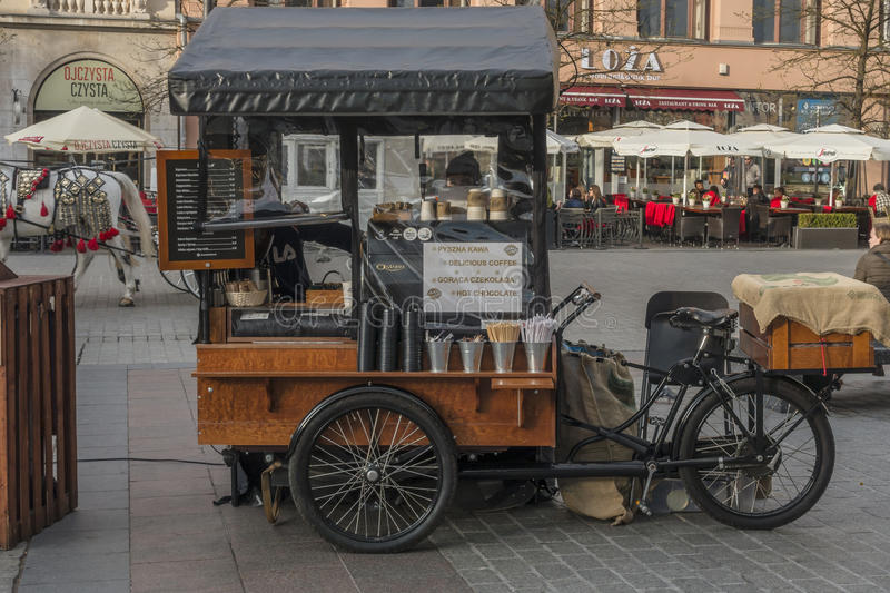Sale of coffee in Krakow. Sale of coffee at the Main Market Square in Krakow , Poland .Coffe stand on Easter 2017 market stock photography
