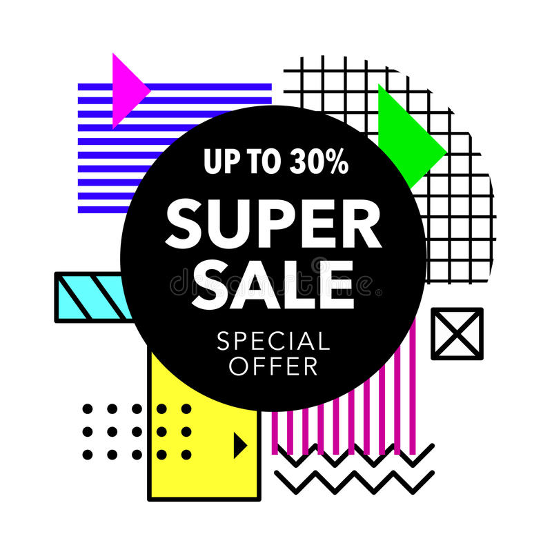 Sale colorful bright poster promo department store. Fashion product discount. Geometric style vector illustration royalty free illustration