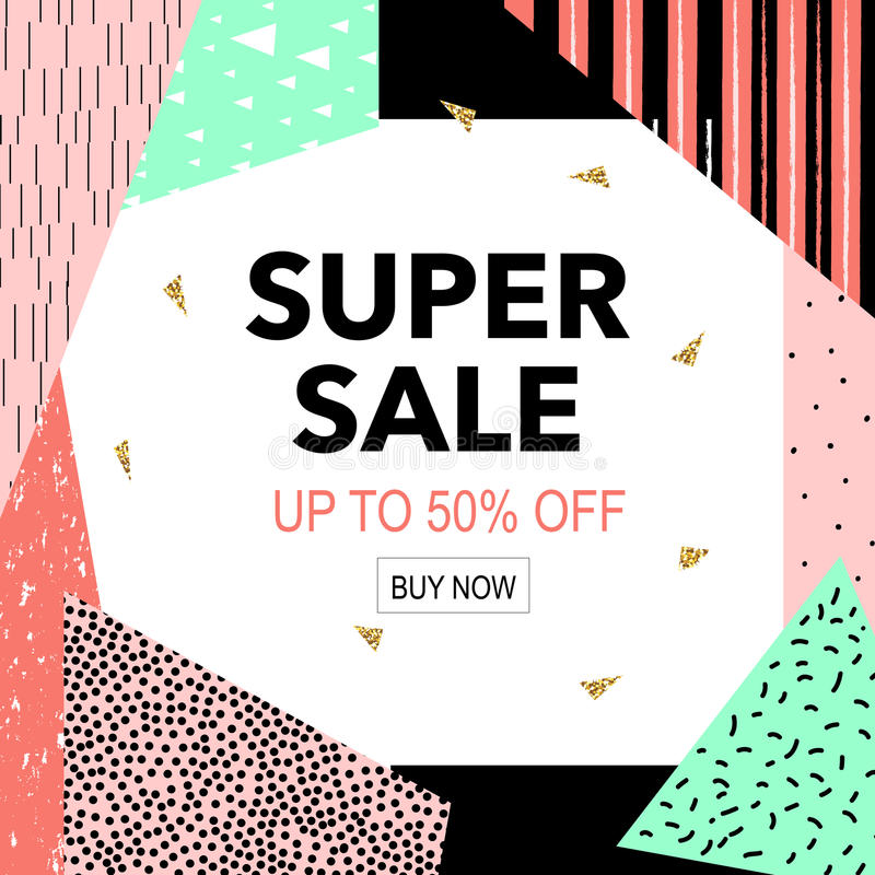 Sale colorful bright poster promo department store. Fashion product discount . Vector illustration stock illustration
