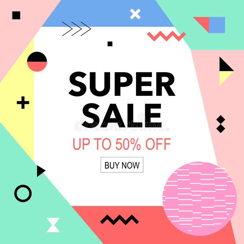 Sale colorful bright poster promo department store. Fashion product discount . Vector illustration royalty free illustration