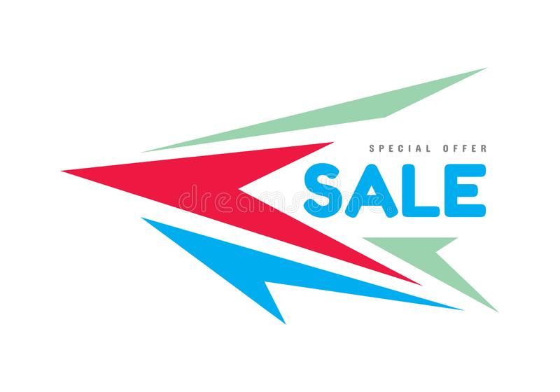 Sale - concept banner vector illustration. Abstract arrows. Dynamic discount layout. Special offer graphic design modern poster. vector illustration