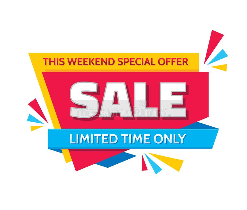 Sale - concept banner vector illustration. This weekend special offer creative sticker layout. Limited time only. Graphic design element royalty free illustration