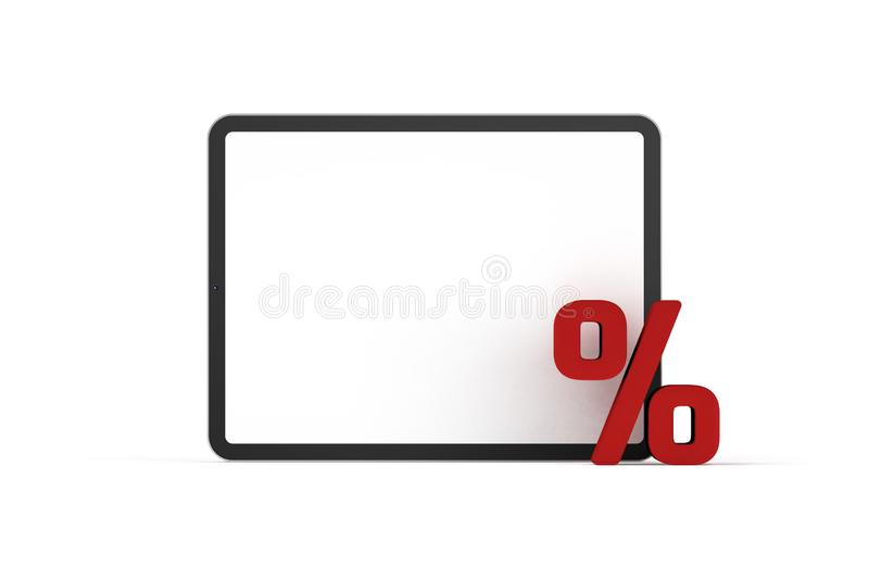 Sale concept - digital tablet and percentage symbol. E-commerce and e-shop, marketing sale discount concept Black Friday or cyber Monday - digital tablet and vector illustration