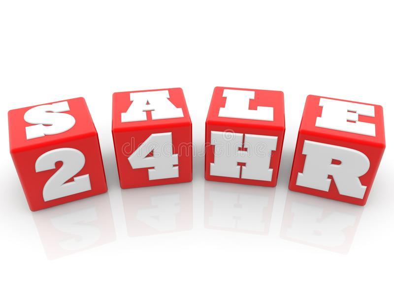 Sale concept on red cubes. In backgrounds stock illustration