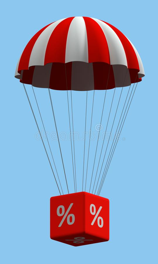Discount Parachute Concept %. Sale concept showing parachute with a % sign vector illustration