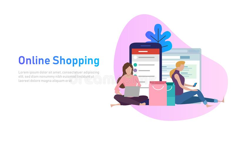Sale, consumerism och folkbegrepp Den unga kvinnan shoppar direktanslutet genom att använda smartphonen och bärbara datorn också  stock illustrationer