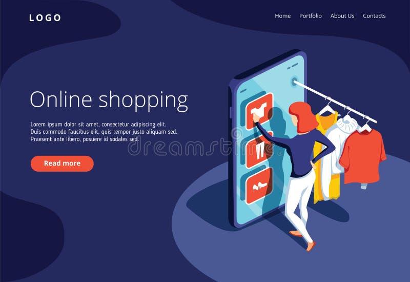 Sale, consumerism och folkbegrepp Den unga kvinnan shoppar direktanslutet genom att använda smartphonen Landa sidamallen royaltyfri illustrationer