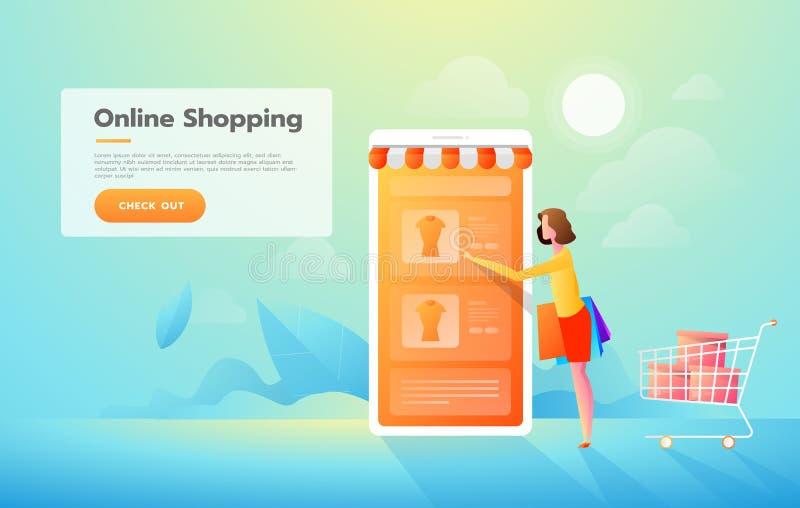 Sale, consumerism och folkbegrepp Den unga kvinnan shoppar direktanslutet genom att anv?nda smartphonen Landa sidamallen Isometri stock illustrationer