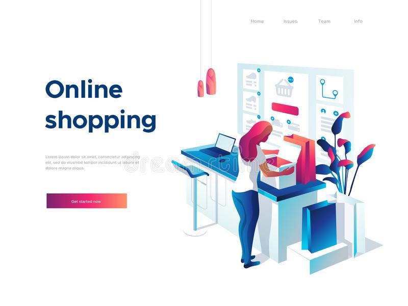 Sale, consumerism and people concept. Young woman is unpacking bags and shopping online using laptop. Landing page vector illustration
