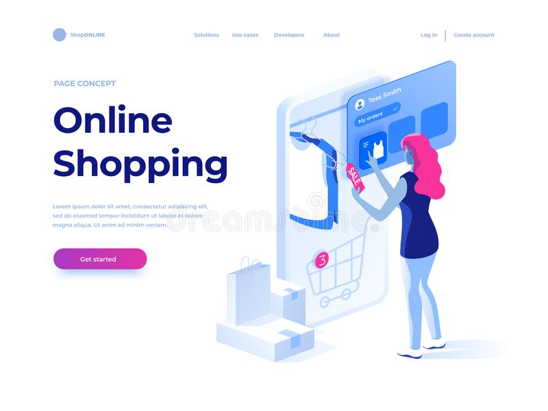 Sale, consumerism and people concept. Young woman shop online using smartphone. Landing page. 3d vector isometric illustration. Sale, consumerism and people royalty free illustration