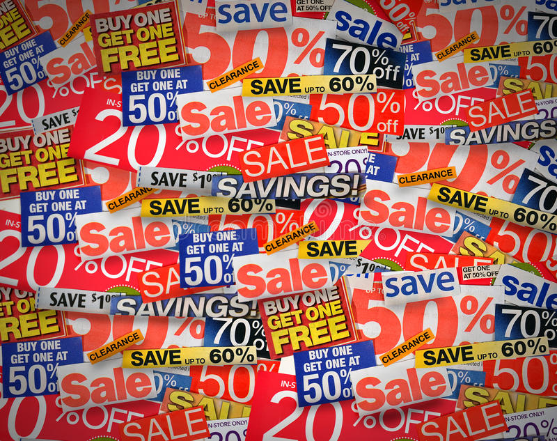 Sale and Coupon Discount Background. A collection of different percent clippings from newspaper and magazines. Text is fifty to twenty percent off text. Use it royalty free stock image