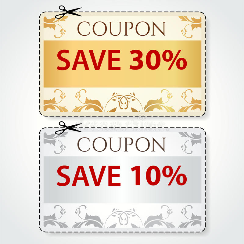 Sale Coupon, tag. Cut off template, gold pattern stock image