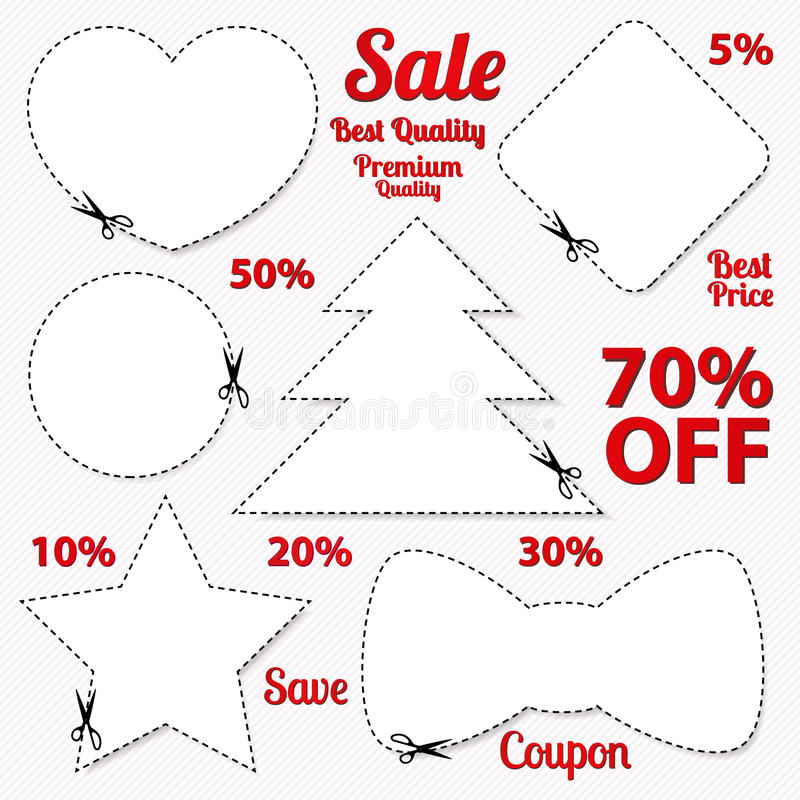 Sale Coupon, tag. Cut off template, scissors, patt stock images