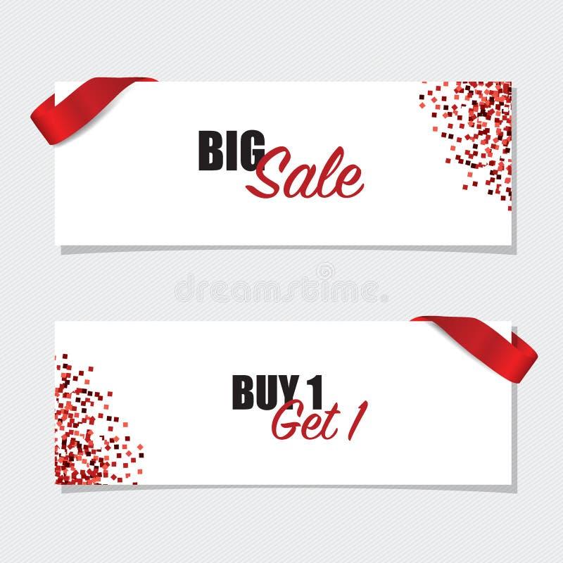 Sale Coupon, voucher, tag design. Vector illustration.  royalty free illustration