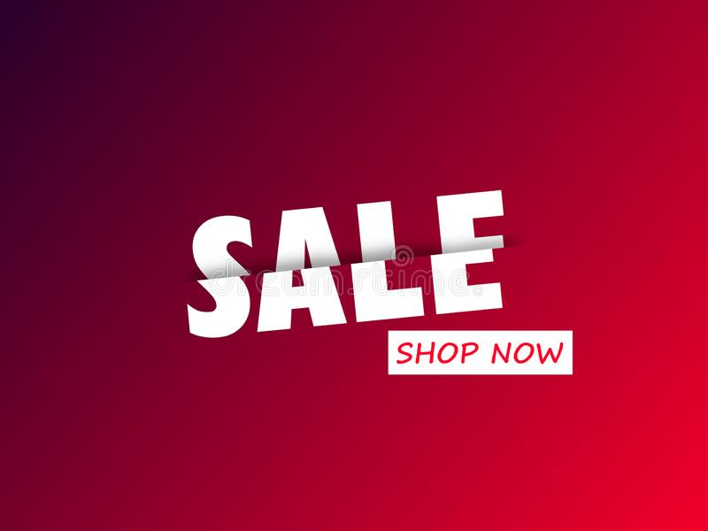 Sale cut half price promotion sign banner white text isolated on red background. Sale cut half price promotion sign banner white text isolated on red background vector illustration