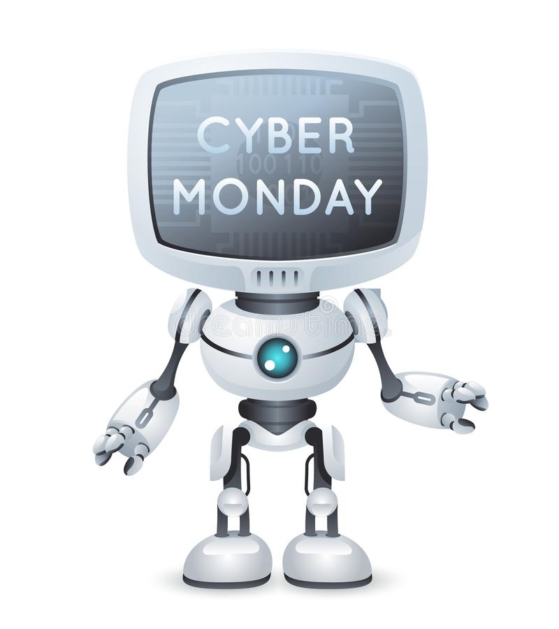 Sale cyber monday screen monitor head robot text poster technology science fiction future cute little 3d design vector. Sale cyber monday monitor screen head stock illustration