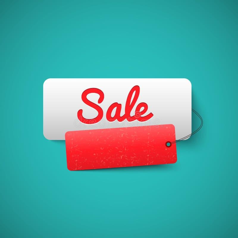 Sale 3D baneretikett Försäljningsetikettbegrepp stock illustrationer
