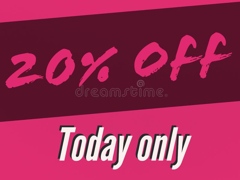 20% sale for a day banner for use. 20 sale day banner use buy sell royalty free illustration