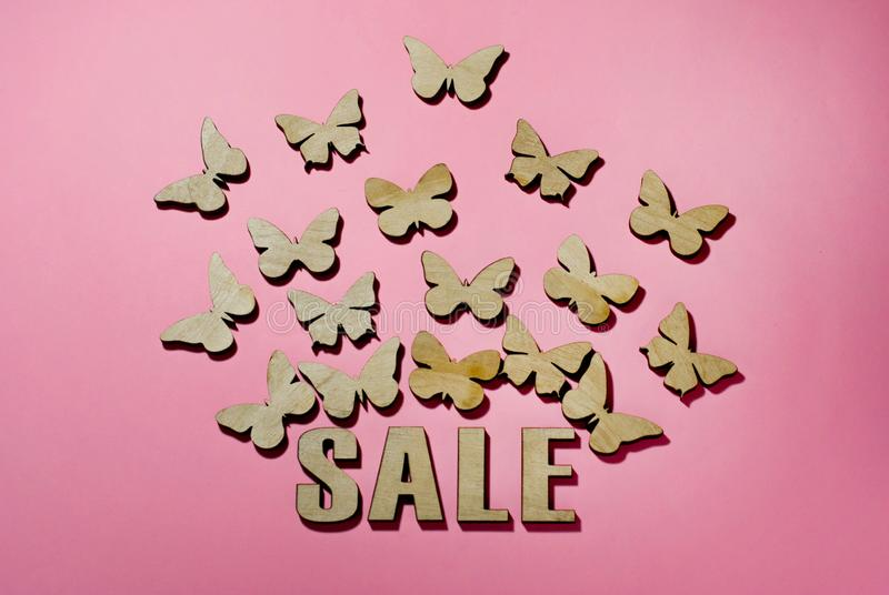 Sale, a day of lovers, butterflies a symbol of flying money. бабоÑ?ки Ð²Ñ royalty free stock images