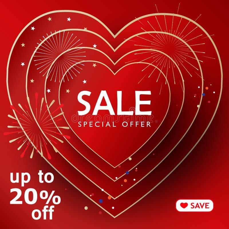 Sale deal banner Happy Valentines Day vector illustration