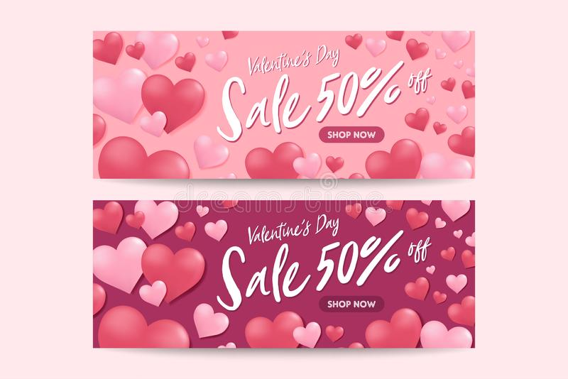 Sale discount banner for Valentines Day. Special offer poster with heart balloons, festive background. stock illustration
