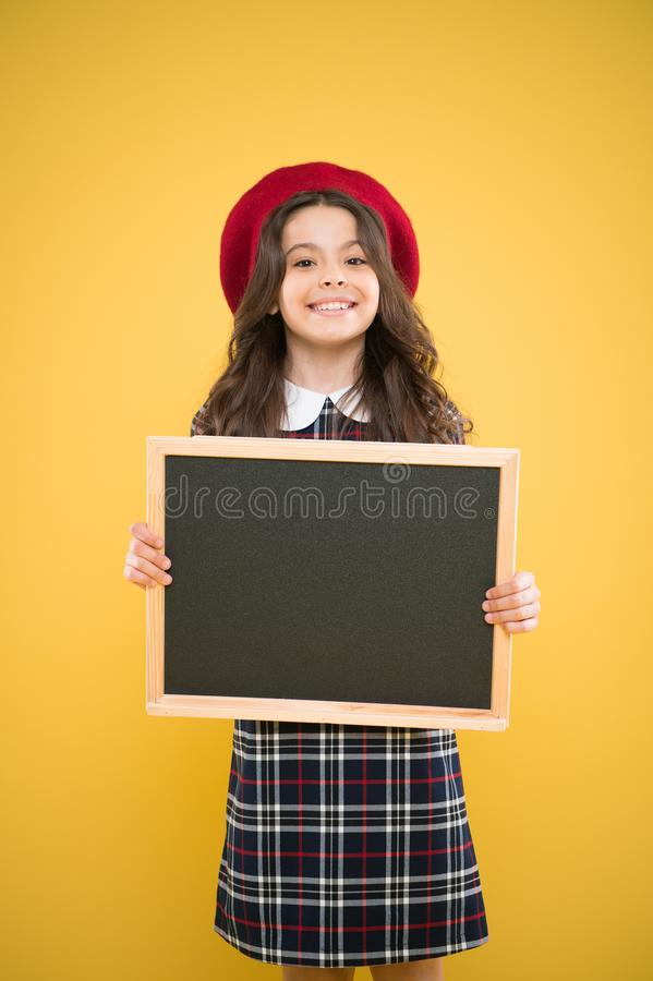 Sale and discount. Child promo information board. Girl hold blank blackboard chalkboard. Tourist information. Travel. Around world. Advertising copy space stock photos