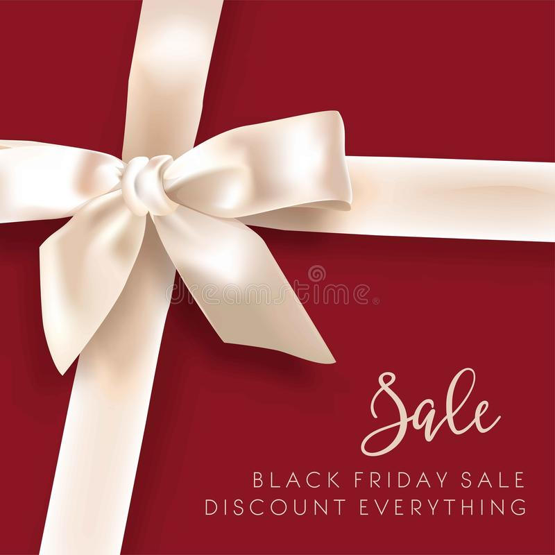 Sale discount fashion promo white bow vector advertising shop poster. Black Friday sale discount promo offer poster or advertising flyer and coupon. Vector vector illustration