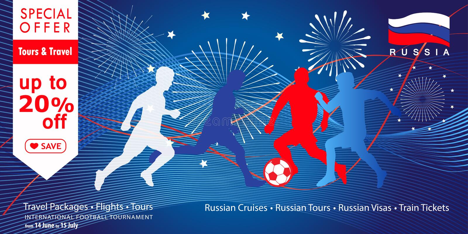 2018 World Cup Russia football Sale sign. 2018, 2019, 2020 - Soccer. Sale discount fireworks travel banner with soccer players silhouettes, Russian flag White stock illustration