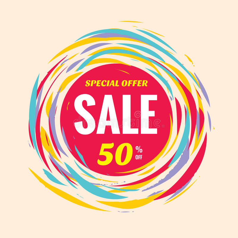 Sale discount 50% off creative vector banner. Special offer abstract circle layout and red, yellow and blue colors. Brush hand. vector illustration