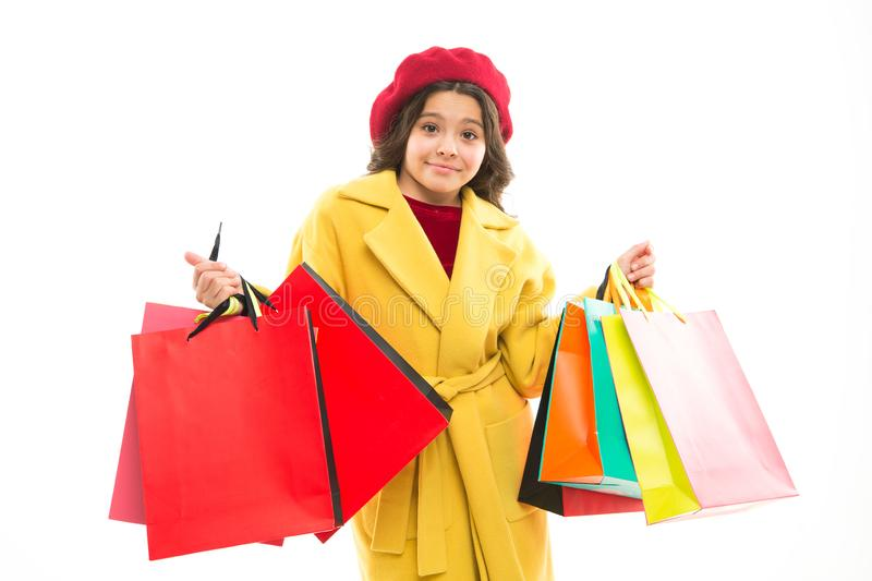 Sale discount. Shopping day. Happy smiling child hold packages. Tricks for profit. Favorite brands and hottest trends royalty free stock photography