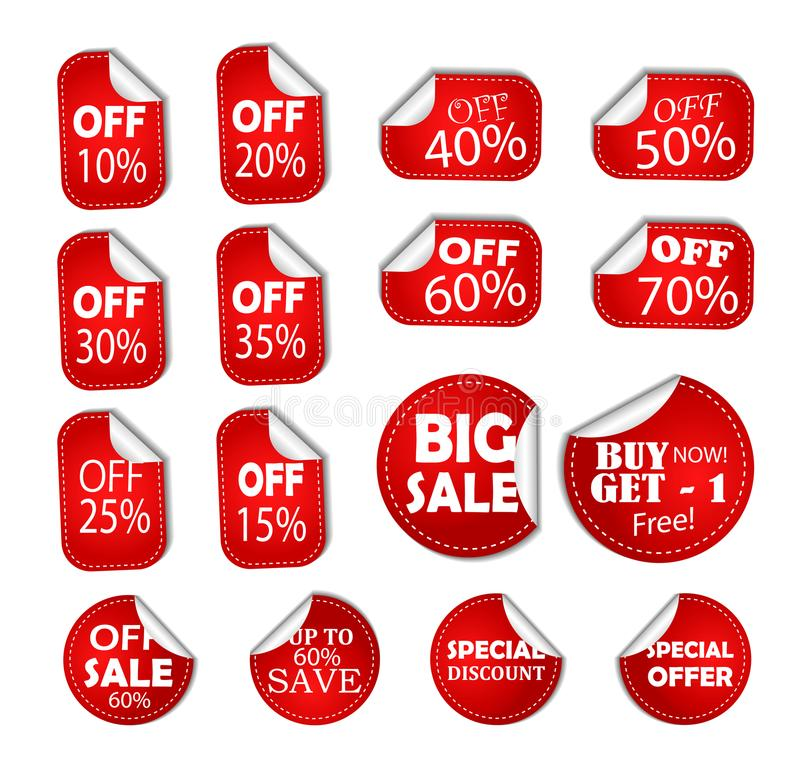 Sale discount specials banner price tag, sticker half off, save percent coupon icon stock illustration