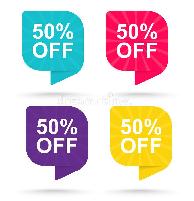 Sale discount sticker 50%. Promotional tags special offers stock illustration