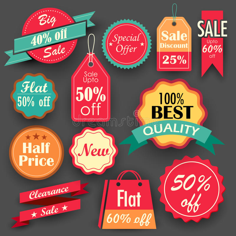 Sale and Discount tags stock illustration