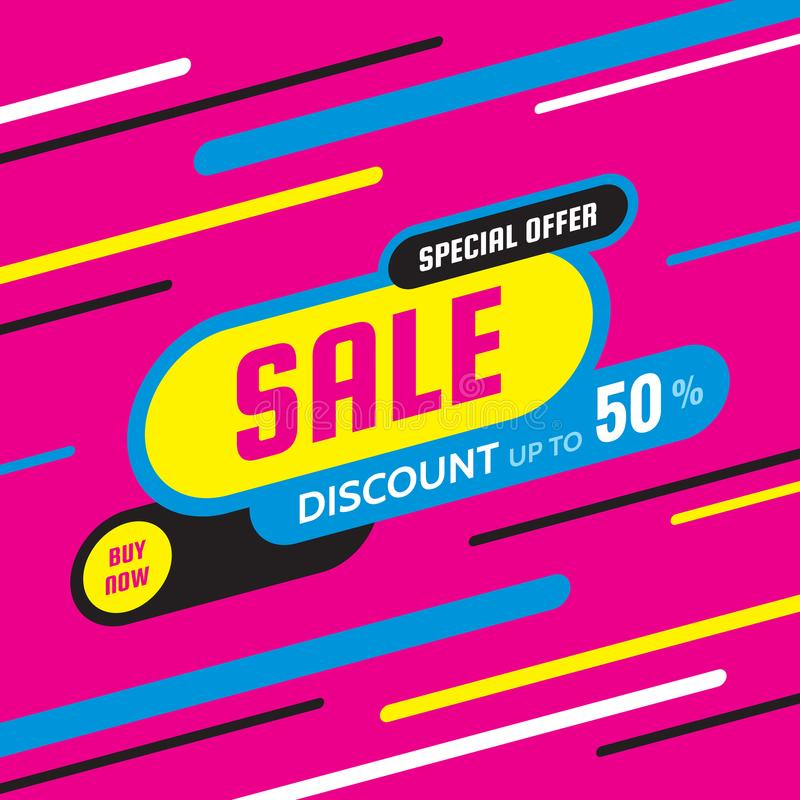Sale discount up to 50% -concept banner vector illustration. Special offer abstract creative layout. Buy now. Graphic design. royalty free illustration