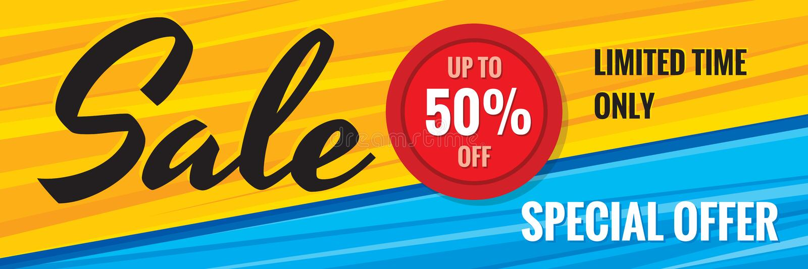 Sale discount up to 50% off - creative horizontal banner vector illustration. Special offer abstract advertising promotion concept stock illustration