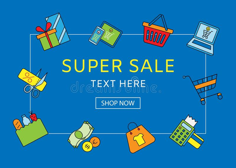 Sale Discount vector illustration. Background for the online store, shop, promotional leaflet. Supersale with basket. Discounter coupons, laptop with gifts vector illustration