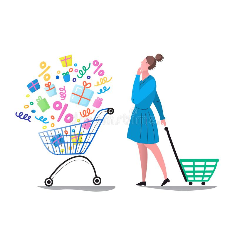 Sale. Discounts. The woman thought. A woman makes a choice of gifts in the store royalty free illustration