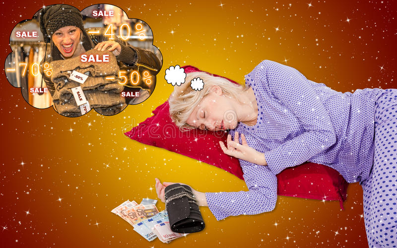 Sale Dreaming. Woman is dreaming the best sales of the season in Christmas Holy Night