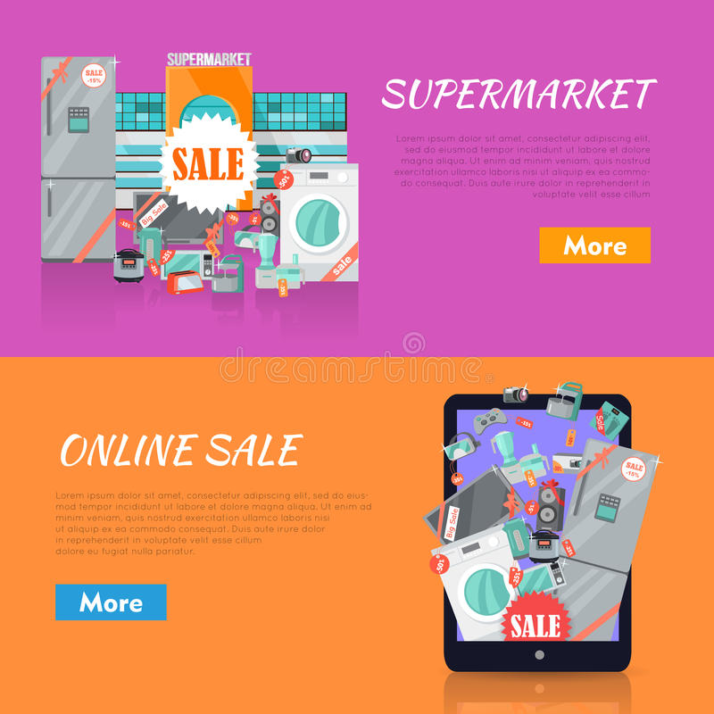 Sale in electronics store web banners set collection of home appliances with discounts stickers near store building and on tablet screen
